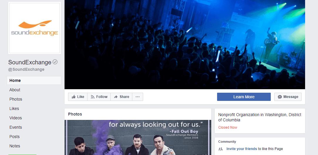 Ejemplo de página de músico de Facebook
