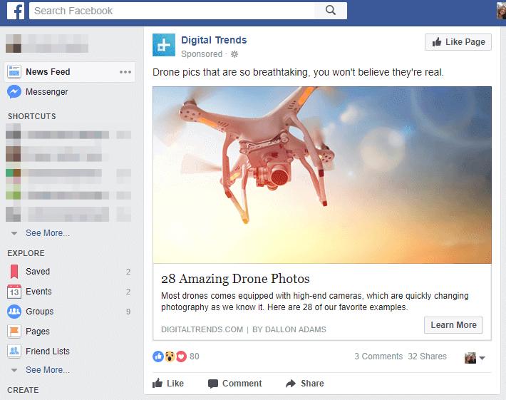 Facebook-sivupäivitys tykkäyksillä ja kommenteilla
